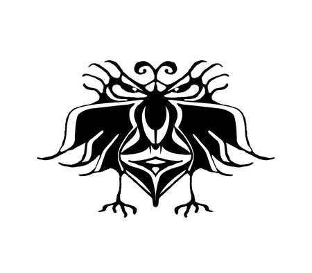 grotesque: Black and white pencil drawing technique fantasy bird with angry or serious expression isolated in white background. Stock Photo