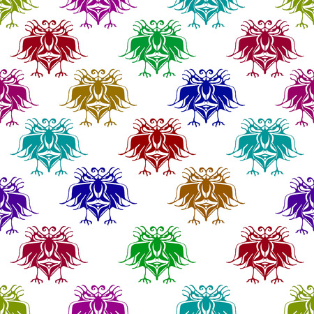 animal hand: Multicolored pencil drawing technique fantasy birds with angry expressions seamless pattern illustration