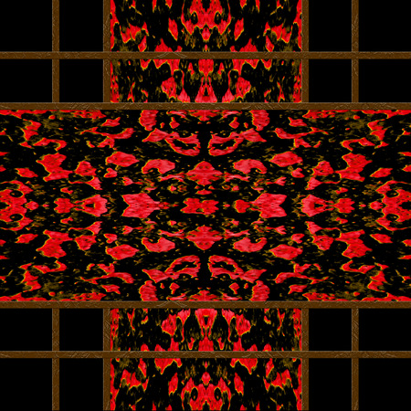 tile able: Abstract decorative oriental style check seamless pattern design in saturated red and brown tones against black background.