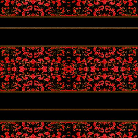 oriental style: Abstract decorative oriental style horizontal stripes seamless pattern design in saturated red and brown tones against black background.