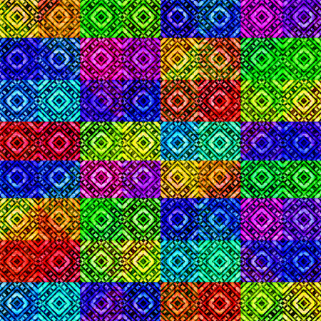 tile able: Digital art abstract geometric diamonds and squares motif seamless pattern background multicolored vivid colors.