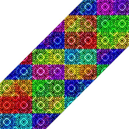 diagonal stripes: Digital art abstract geometric diamonds and squares motif diagonal stripes pattern in multicolored vivid colors against white background