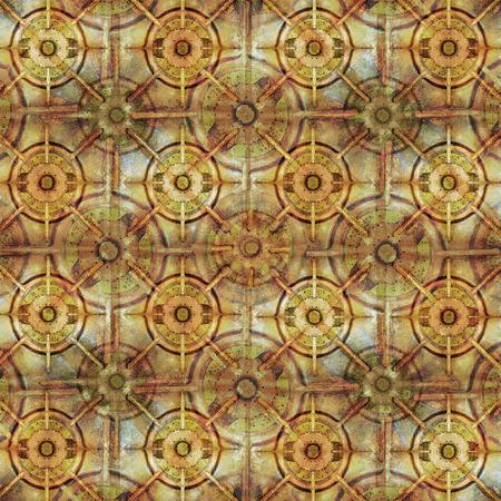 colores calidos: los círculos y las líneas digitales técnica del collage motivo de diseño moderno patrón transparente de verificación en colores cálidos.
