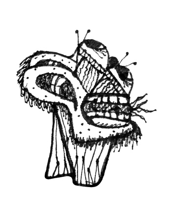 head shot: Black and white pencil drawing raster illustration of fantasy monster head in side view shot isolated in white background.