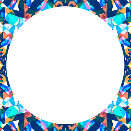 saturated: White background frame with circular geometric abstract sharp pattern in vivid and saturated multicolored tones