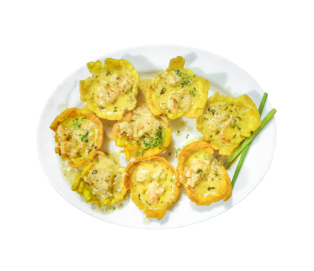 ecuadorian: Top view shot of a group of shrimps canapes with crab sauce which is a typical ecuadorian food