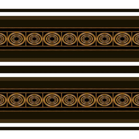 mirrored: Digital art technique ethnic abstract horizontal stripes geometric artwork seamless mirrored pattern design in brown tones against white background