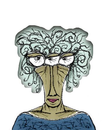 caricature woman: Front view portrait hand draw caricature of alien old woman with bored or angry expression isolated in white background. Stock Photo