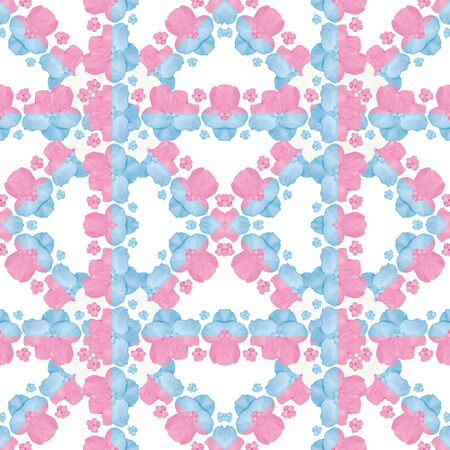 tile able: Decorative stylized flowers motif geometric check seamless pattern design in pastel red and blue tones. Stock Photo