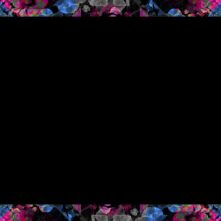 mixed colors: Black background frame with collage decorative geometric ornate pattern mosaic borders in mixed colors