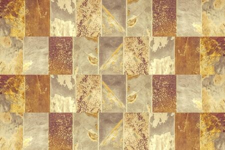 colores calidos: Rectangles geometric pattern marble texture motif background in mixed warm colors.