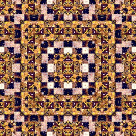 mixed colors: Digital collage technique complex geometric check style grunge seamless pattern in mixed colors Stock Photo