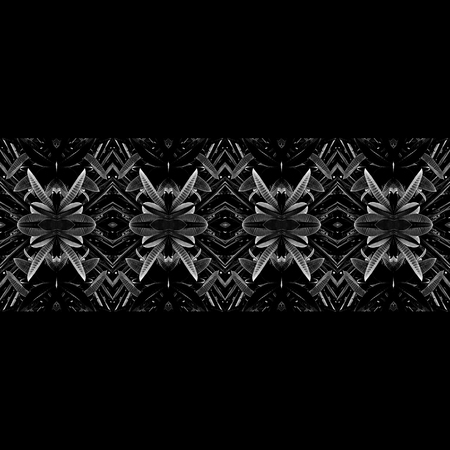 tile able: Digital art abstract geometric horizontal stripes tribal pattern in silver colors against black background