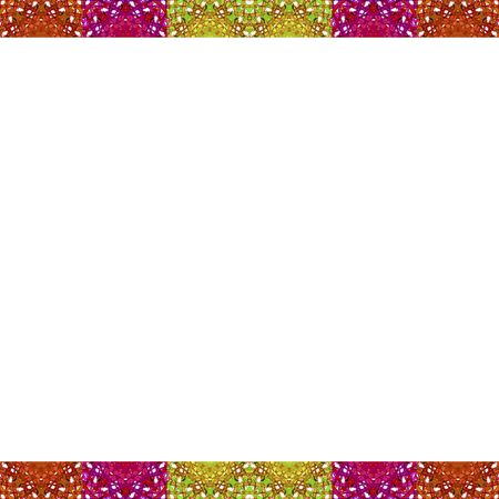 mirrored: White frame background with ornate check pattern design borders in multicolored tones Stock Photo