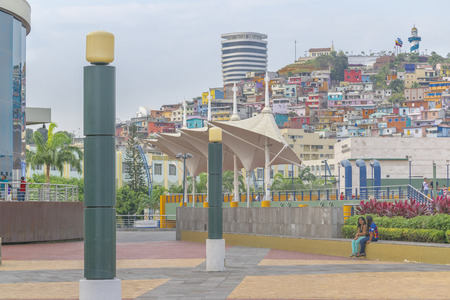 guayaquil: GUAYAQUIL, ECUADOR - OCTOBER - 2015 - Urban scene at the famous Malecon 2000 located at riverfront of guayas river in the city of Guayaquil in  Ecuador.