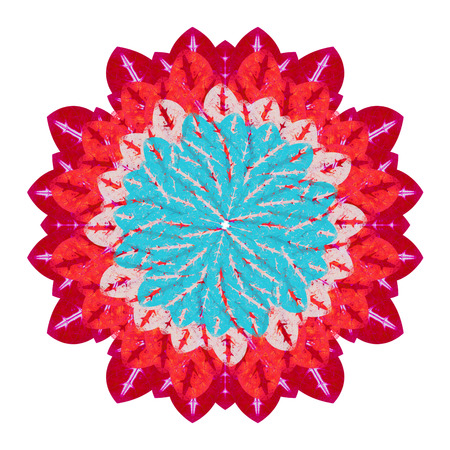 reds: Felt tip hand draw flower in saturated reds and cyan colors isolated in white background