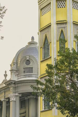 low angle: Low angle view of elegant eclectic old style buildings located in the historic center of Guayaquil in Ecuador Stock Photo