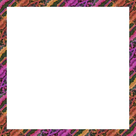 square frame: White square frame background with diagonal stripes pattern stylized ornate floral motif in vibrant mixed colors borders Stock Photo