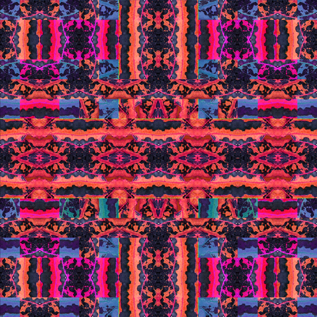 photo collage: Digital photo collage and manipulation technique seamless pattern stylized ornate floral motif in vibrant mixed red and blue colors against black borders