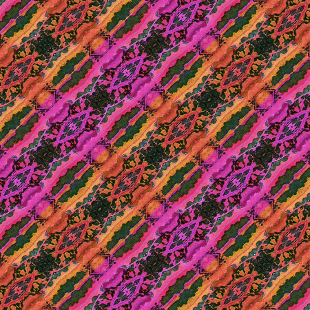 photo collage: Digital photo collage and manipulation technique diagonal stripes pattern stylized ornate floral motif in vibrant mixed colors