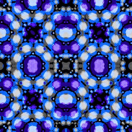 cold colors: Digital collage technique modern abstract seamless check pattern design in vivid mixed cold colors against black and white background.