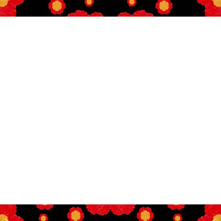 mirrored: White background with decorated floral pattern design border.