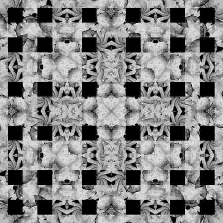 artifact: Geometric abstract ornate check seamless pattern design in silver tones against black background