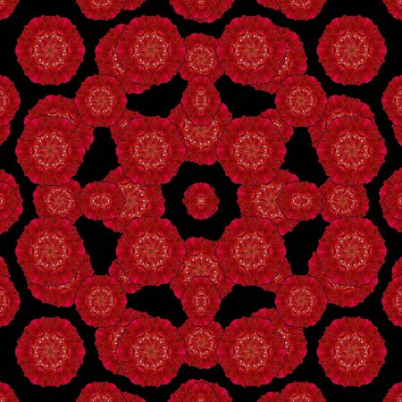vivid colors: Digital collage technique stylized floral seamless check pattern design in vivid red colors against black background.