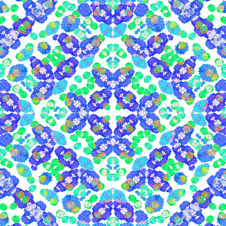 mirrored: Digital collage technique stylized floral seamless check pattern design in vivid cold colors against white background. Stock Photo