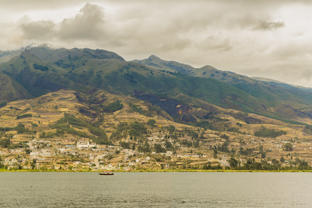pablo: Day landscape scene photo of san pablo lake and mountain at background in Imbabura district in Ecuador, South America Stock Photo