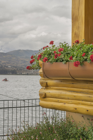 pablo: Flowers and wood rustic style architecture detail in front of San Pablo lake, Imbabura, Ecuador Stock Photo