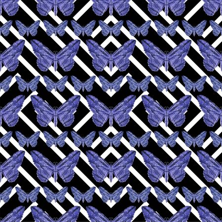 conversational: Digital photo collage butterflies motif seamless geometric pattern design in blue and black and white black colors.
