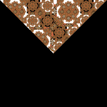sophisticate: Black background frame with decorated borders pattern design in orange colors against black and white tones.