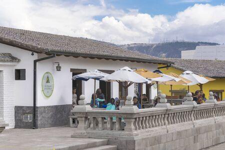 equator: POMASQUI, ECUADOR, OCTOBER - 2015 - Colonial style restauratn at middle earth equator line monument in Ecuador.