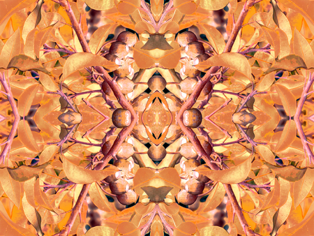 manipulation: Digital collage and manipulation technique nature floral collage motif seamless pattern mosaic in vivid orange tones. Stock Photo