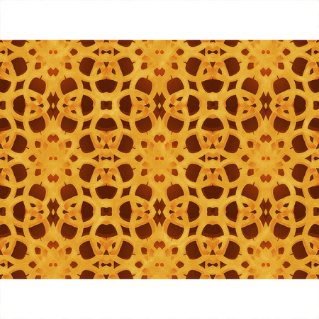 interweaving: Digital art technique arabic or islamic style frame background with decorated geometric ornate arabesque orange stripes borders