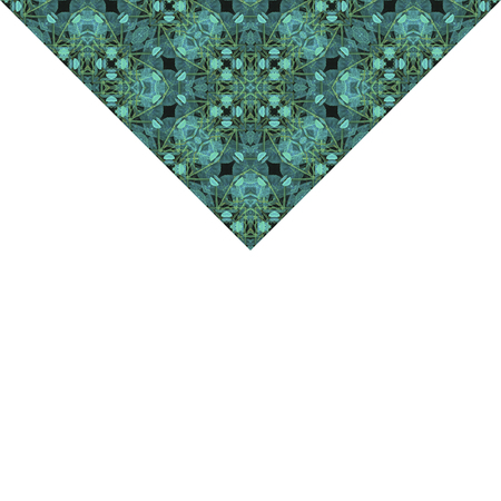 White stationery background with decorative geometric pattern mosaic design in turquoise and yellow tones triangle borders.