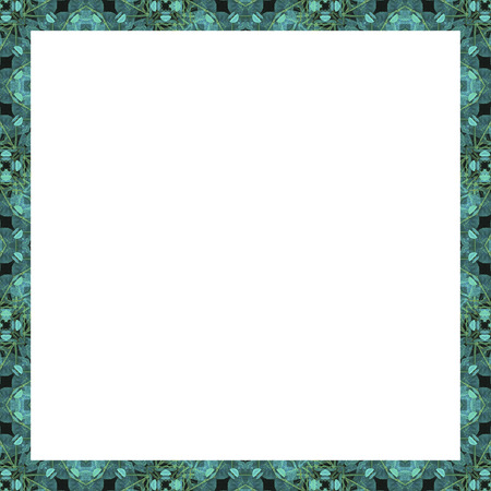 White stationery frame background with decorative geometric pattern mosaic design in turquoise and yellow tones borders.