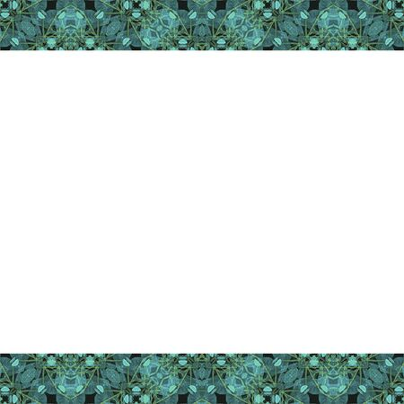 clave: White stationery frame background with decorative geometric pattern mosaic design in turquoise and yellow tones borders.