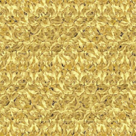interlaced: Digital art style interlaced seamless pattern floral motif design in gold colors Stock Photo