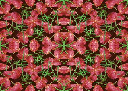 manipulation: Digital collage and manipulation technique nature floral collage motif seamless pattern design in red and green tones Stock Photo