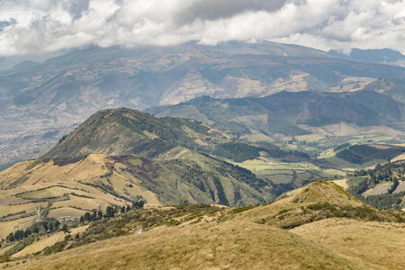 hill range: Andes range mountains landscape scene from the top of Cruz Loma hill, Quito Ecuador