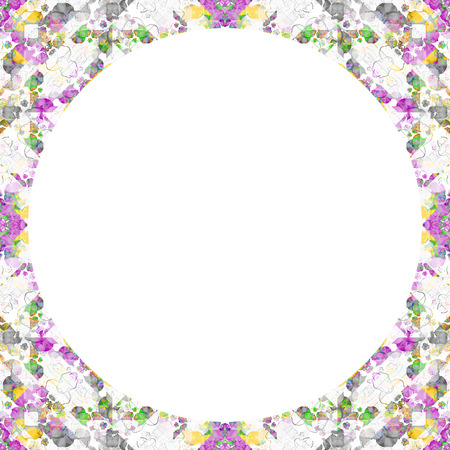 mixed colors: white background with geometric pattern boho style design in mixed colors round borders