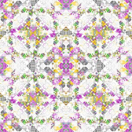 mixed colors: Digital collage and photo manipulation technique boho style geometric seamless pattern design in mixed colors Stock Photo