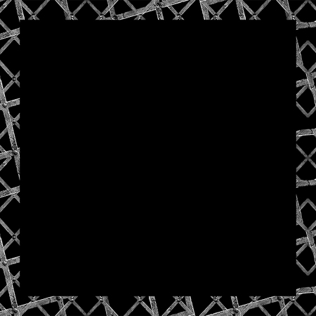 interlace: Black frame with geometric abstract interlace grunge iron texture in black and white colors borders Stock Photo