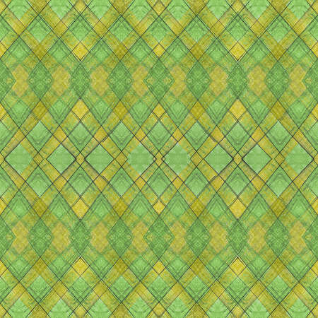 interlaced: Digital art vintage style interlaced abstract geometric seamless pattern background in green and yellow tones.