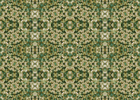 photo manipulation: Digital collage and photo manipulation technique stylized floral boho style geometric seamless pattern design in mixed green and brown colors Stock Photo