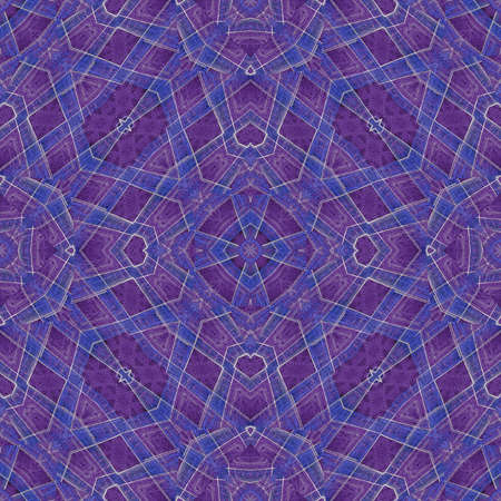 tile able: Digital art style technique modern geometric check ornate abstract seamless pattern design in violet and blue tones. Stock Photo
