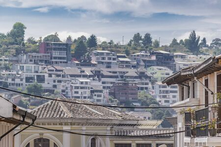 low  angle: Low angle shot of houses at highs in the historic of Quito, Ecuador