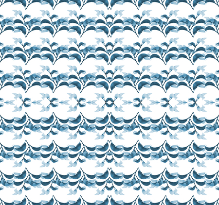 manipulation: Digital collage and photo manipulation technique geometric stylized floral seamless pattern design in cold colors against white background.